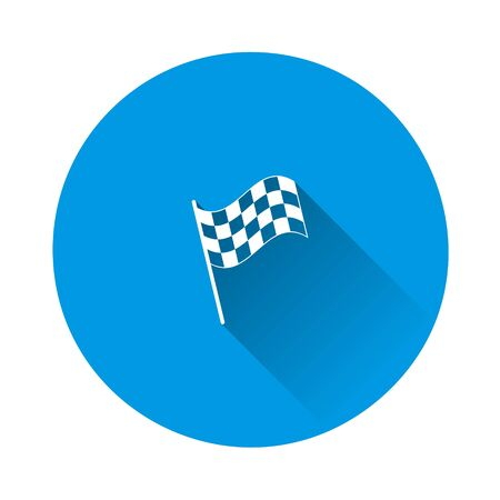 car racing flag icon. Start, finish symbol on blue background. Flat image with long shadow. Layers grouped for easy editing illustration. For your design.