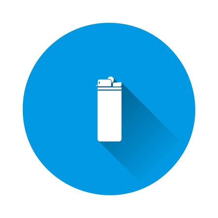 Lighter icon on blue background. Flat image with long shadow. Layers grouped for easy editing illustration. For your design. Foto de archivo - 134406225