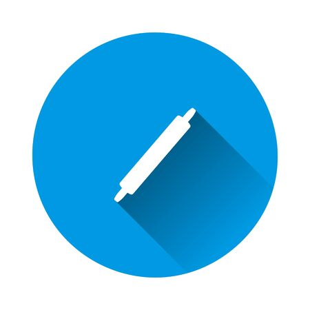 Dough rolling pin icon on blue background. Flat image with long shadow. Layers grouped for easy editing illustration. For your design.