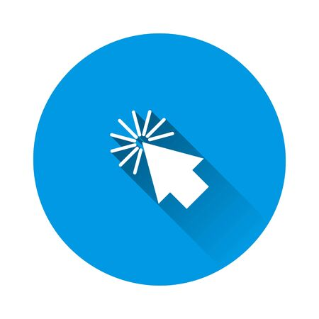 Arrow, the cursor pointing to the point. The cursor clicks on blue background. Flat image with long shadow. Layers grouped for easy editing illustration. For your design. Illustration