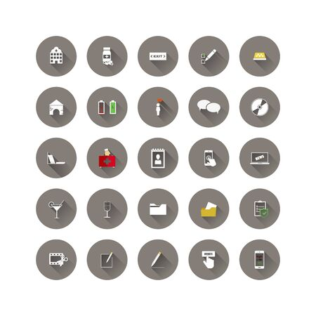 Set of web icons. Social and business icons in a circle icon on white isolated background. Layers grouped for easy editing illustration. For your design. Stock Illustratie