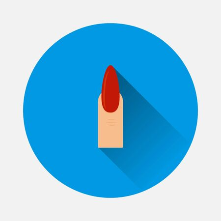 Vector finger and painted nail icon. Manicure symbol icon on blue background. Flat image with long shadow. Layers grouped for easy editing illustration. For your design.
