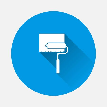Vector icon image Paint roller icon on blue background. Flat image with long shadow. Layers grouped for easy editing illustration. For your design. 일러스트