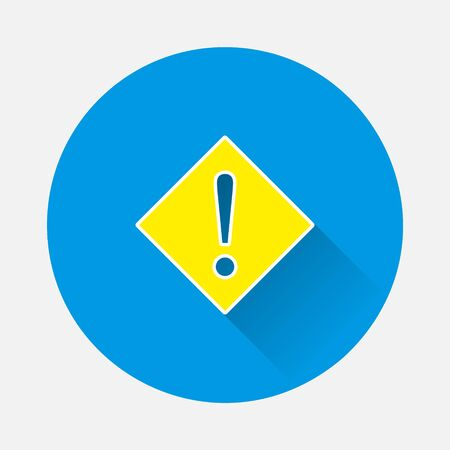 Vector icon exclamation mark in a diamond. Punctuation mark symbo icon on blue background. Flat image with long shadow.Layers grouped for easy editing illustration. For your design.