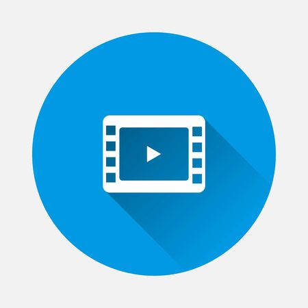 Video play icon. Vector illustration play video icon on blue background. Flat image with long shadow. Layers grouped for easy editing illustration. For your design.