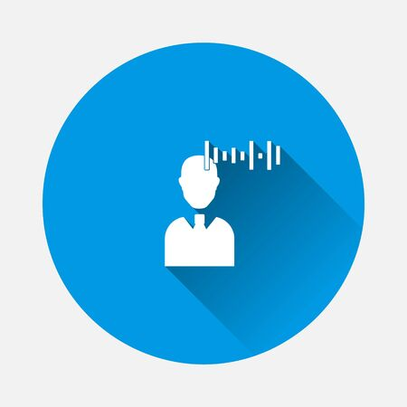 Vector voice recognition icon. User illustration and voice message icon on blue background. Flat image with long shadow.Layers grouped for easy editing illustration. For your design.