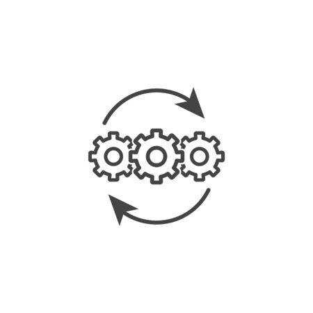 Vector icon business process optimization. Business development on white isolated background. Layers grouped for easy editing illustration. For your design.
