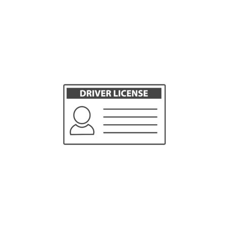 Vector car driver licenses icon on white isolated background. Layers grouped for easy editing illustration. For your design.