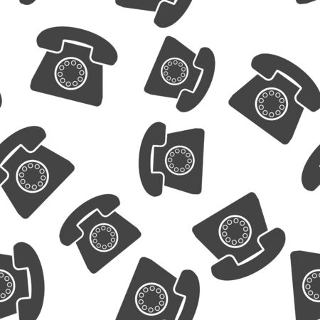 Vector image of retro phone icon seamless pattern on a white background. Layers grouped for easy editing illustration. For your design Foto de archivo - 136991485