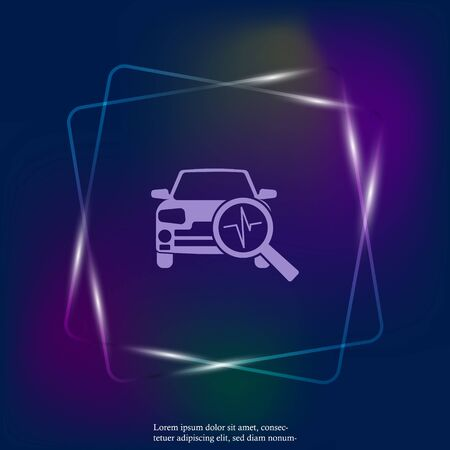 Vector neon light icon car diagnostics. Layers grouped for easy editing illustration. For your design.