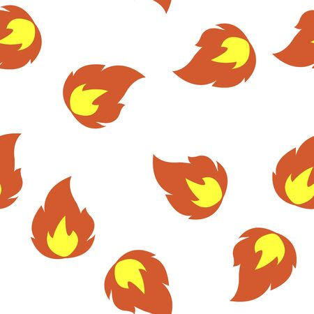 Vector icon fire, flames. A symbol of fire, hot. Multicolored illustration seamless pattern on a white background. Layers grouped for easy editing illustration. For your design