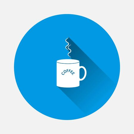 Vector icon disposable cup of coffee. Stale coffee drink in the dishes con on blue background. Flat image with long shadow.Layers grouped for easy editing illustration. For your design.