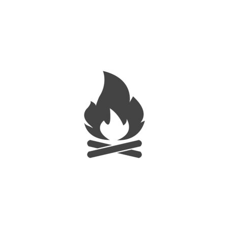 Vector campfire icon on white isolated background. Layers grouped for easy editing illustration. For your design