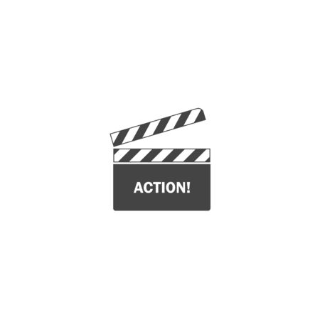 Vector clapper for movie with inscription on white isolated background. Layers grouped for easy editing illustration. For your design