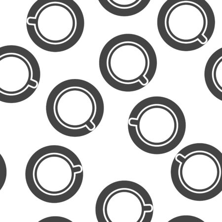 Vector icon disposable cup of coffee or tea. Stale coffee drink in the dishes seamless pattern on a white background. Layers grouped for easy editing illustration. For your design