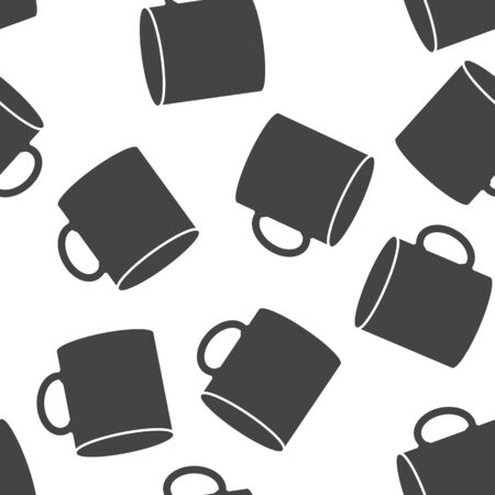 Vector icon disposable cup of coffee. Stale coffee drink in the dishes seamless pattern on a white background. Layers grouped for easy editing illustration. For your design