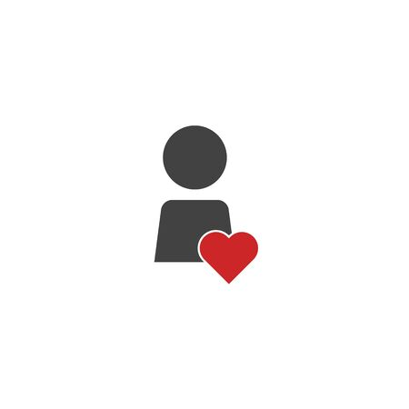 Vector user and heart icon on white isolated background. Layers grouped for easy editing illustration. For your design. Иллюстрация