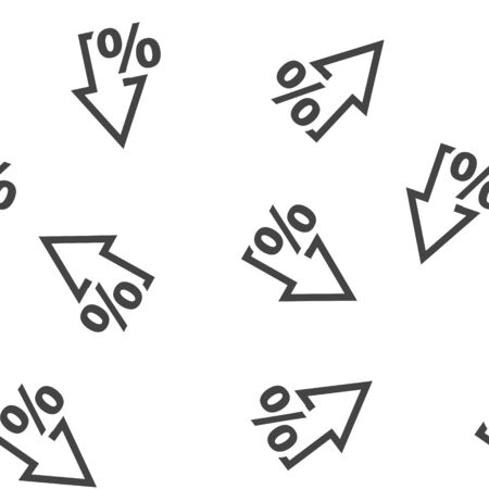 Vector icon down and up arrow and percentage sign seamless pattern on a white background. Layers grouped for easy editing illustration. For your design