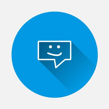 Message vector icon. Sms icon on blue background. Flat image with long shadow. Layers grouped for easy editing illustration. For your design.
