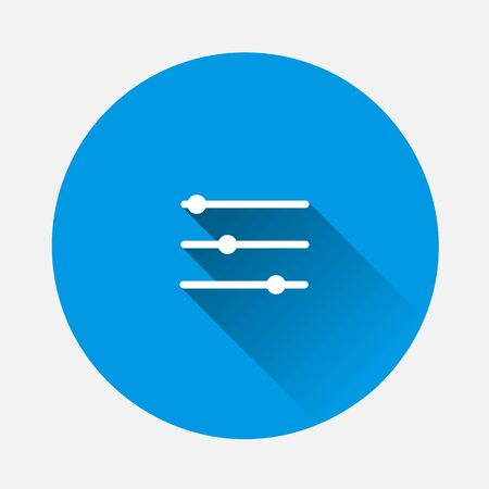 Setting icon on blue background. Flat image with long shadow. Layers grouped for easy editing illustration. For your design.