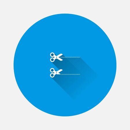 Vector set cut line icon with scissors icon on blue background. Flat image with long shadow. Layers grouped for easy editing illustration. For your design.