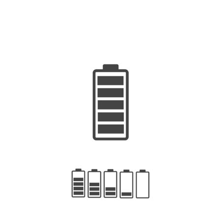Full battery and low battery set on white isolated background. Layers grouped for easy editing illustration. For your design.