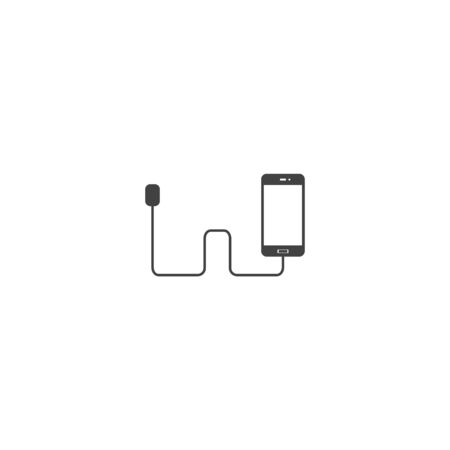 Vector icon phone is charging on white isolated background. Layers grouped for easy editing illustration. For your design. 版權商用圖片 - 143285396