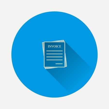 Vector invoice icon. Accounting document icon on blue background. Flat image with long shadow. Layers grouped for easy editing illustration. For your design. Illustration