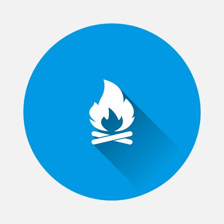 Vector campfire icon on blue background. Flat image with long shadow. Layers grouped for easy editing illustration. For your design.