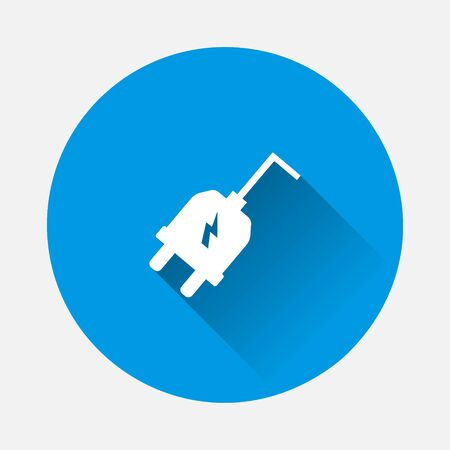 Vector icon electric plug icon on blue background. Flat image with long shadow. Layers grouped for easy editing illustration. For your design.