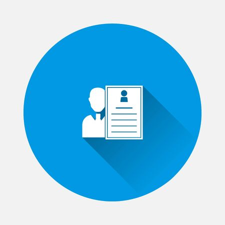Job and resume icon on blue background. Flat image with long shadow. Layers grouped for easy editing illustration. For your design.