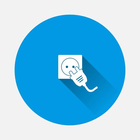 Vector icon electric plug and socket icon on blue background. Flat image with long shadow. Layers grouped for easy editing illustration. For your design.