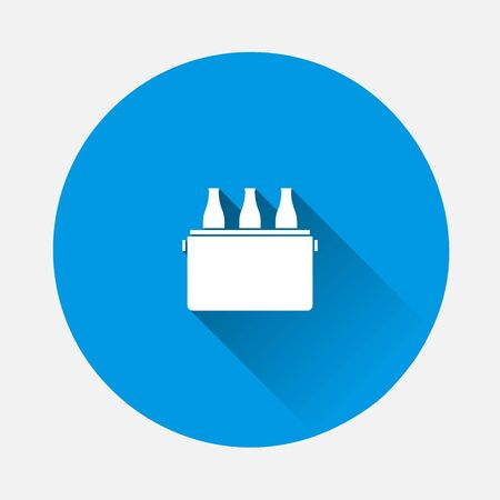Vector beer fridge icon. Beverage cooler bag icon on blue background. Flat image with long shadow. Layers grouped for easy editing illustration. For your design.