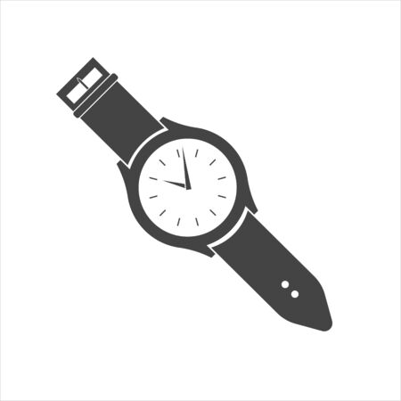 Classic wrist watch. Clock icon. Vector Clock Icon on white isolated background. Layers grouped for easy editing illustration. For your design.