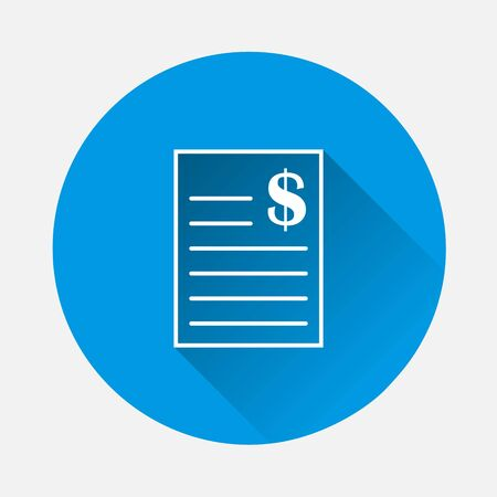 Vector document icon and dollar icon on blue background. Flat image with long shadow. Layers grouped for easy editing illustration. For your design.