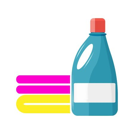 Laundry liquid vector icon. Detergent and a stack of laundry on white isolated background.Layers grouped for easy editing illustration. For your design.