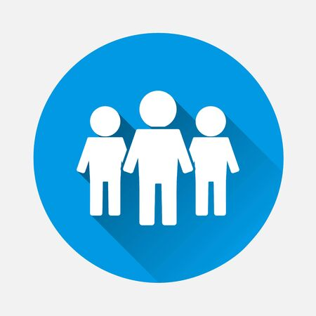 Vector people icon. Crowd icon on blue background. Flat image with long shadow. Layers grouped for easy editing illustration. For your design.