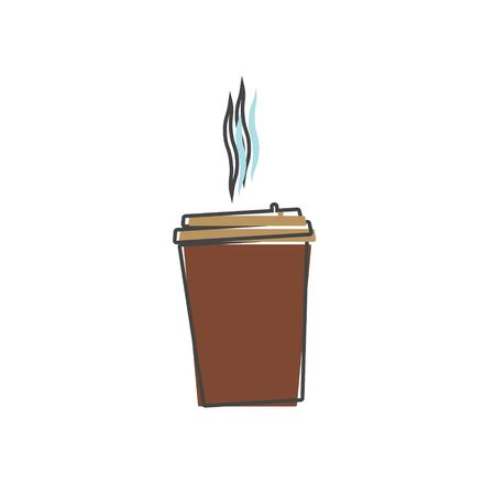 Vector icon disposable cup of coffee. A stale coffee drink cartoon style on white isolated background. Layers grouped for easy editing illustration. For your design.