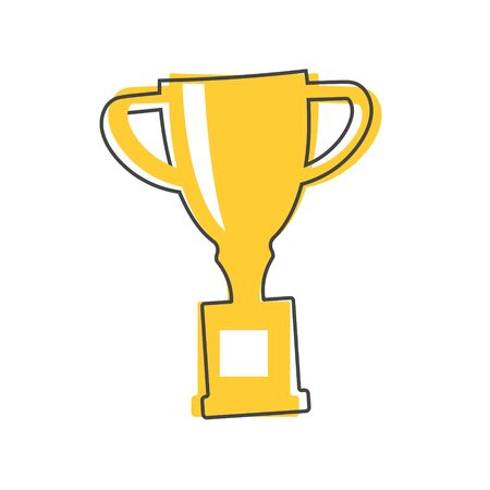 Vector image of a trophy cup. Cup - symbol of winning, encouraging, receiving a prize. Award cartoon style on white isolated background. Layers grouped for easy editing illustration. For your design. Çizim
