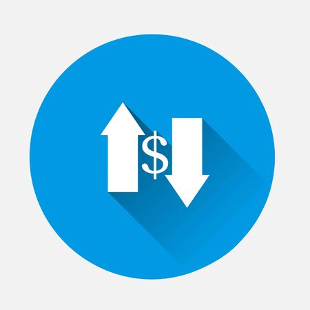 Vector up and down arrow and dollar sign icon on blue background. Flat image with long shadow. Layers grouped for easy editing illustration. For your design. Ilustrace