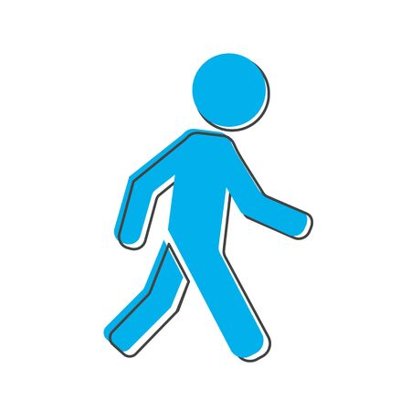 Vector icon of walking pedestrian. Illustration of walking man cartoon style on white isolated background. Layers grouped for easy editing illustration. For your design. Vettoriali