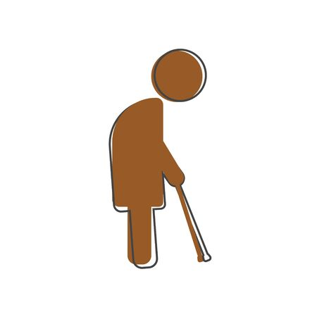 Old man with cane cartoon style on white isolated background. Layers grouped for easy editing illustration. For your design. Illustration