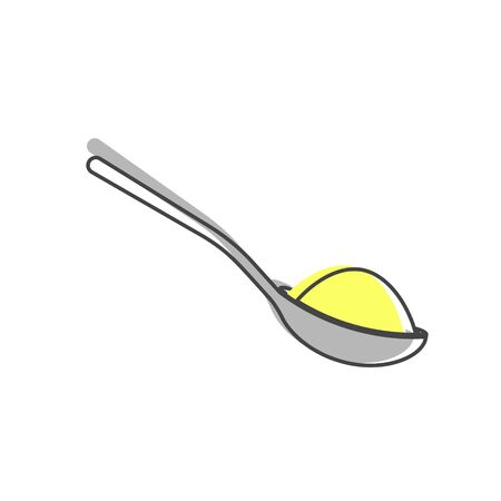 Vector icon of a spoon with sugar or salt cartoon style on white isolated background. Layers grouped for easy editing illustration. For your design.