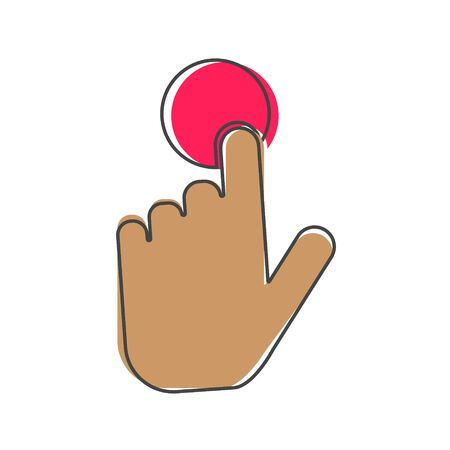 The hand clicks on the button. Cursor Icon cartoon style on white isolated background. Layers grouped for easy editing illustration. For your design.
