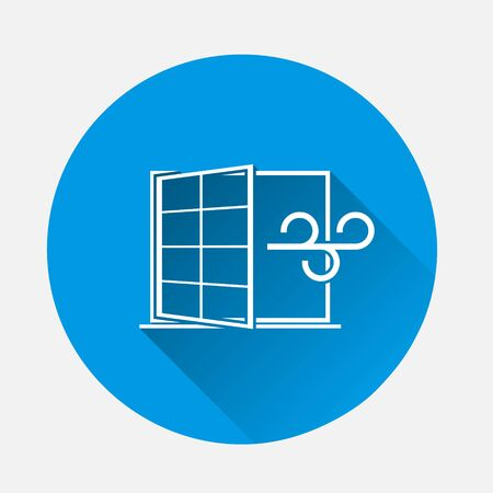 Vector icons airing the apartment. Wind blowing through the window, a draft icon on blue background. Flat image with long shadow. Layers grouped for easy editing illustration. For your design. Vetores