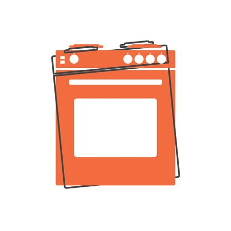 Vector icon gas stove with oven cartoon style on white isolated background. Layers grouped for easy editing illustration. For your design.