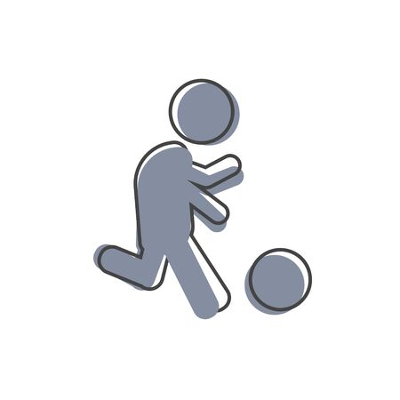 Vector icon man playing ball. Soccer player cartoon style. Football player on white isolated background. Layers grouped for easy editing illustration. For your design.