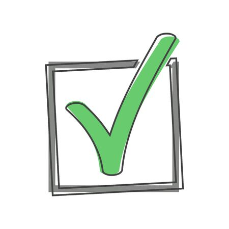 Vector check mark icon cartoon style on white isolated background. Layers grouped for easy editing illustration. For your design.