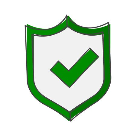 illustration of green shield with tick and cross. Symbol of protection and reliability cartoon style on white isolated background. Layers grouped for easy editing illustration. For your design.