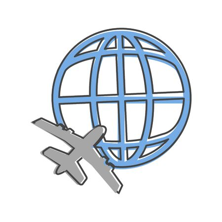 icon airplane flying around the globe cartoon style on white isolated background. Layers grouped for easy editing illustration. For your design.